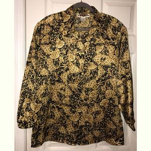 Vintage Jordan Women's Satin Shirt, Size 12